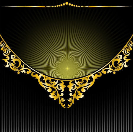 semicircular gilt decoration on black background radiant Vector