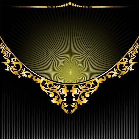 lotus effect: semicircular gilt decoration on black background radiant