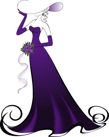 traje de gala: Mujer con un ramo en un elegante vestido morado