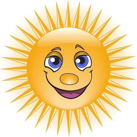 orange fun sun  with a pretty smile  Vector