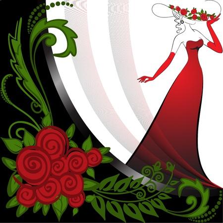 femme dans une robe longue rouge sur fond noir et blanc et de roses