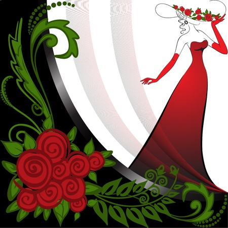 woman in a long red dress in black and white background with roses Vector