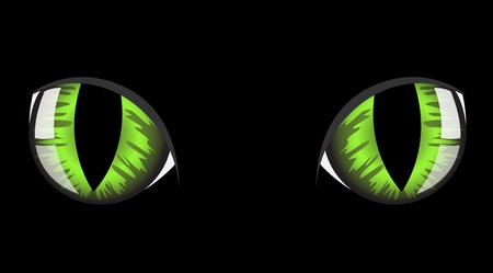 halloween eyeball: green cat eyes on black background