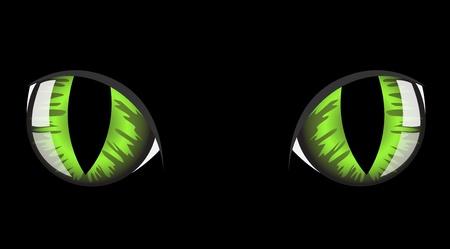 vision nocturna: ojos de gato verde sobre fondo negro