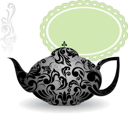 teapot with a beautiful ornament and clouds of steam Illustration