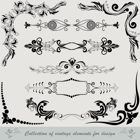 fancy border: collection of vintage elements for design