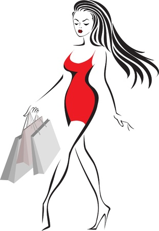 beautiful girl in little red dress walking with shopping bags Vector