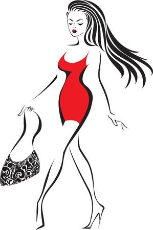handbag model: silhouette of slender woman running in red dress Illustration