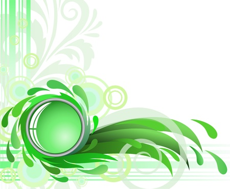 wetness: abstract green background with drops and glass Illustration