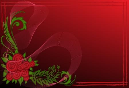Tarjeta negra y roja con un ramo de rosas