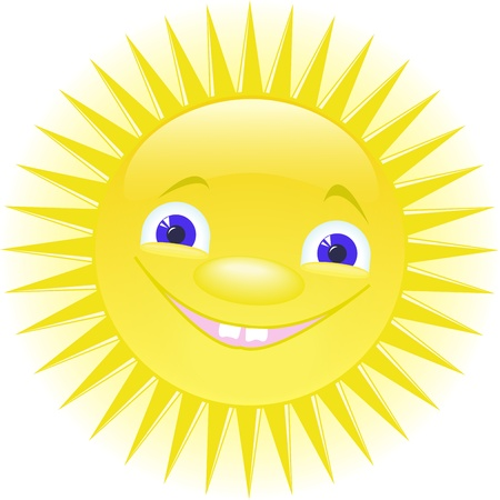 funny smiling sun with blue eyes Stock Vector - 9873325
