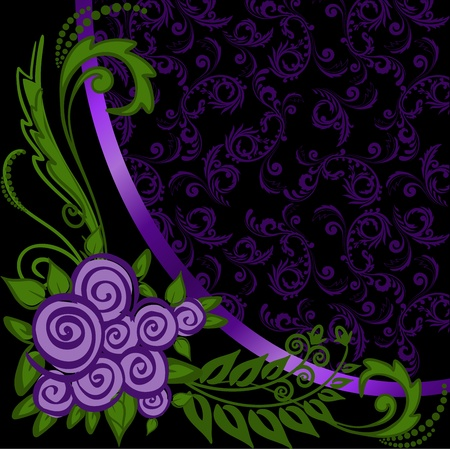 asymmetrical black background with ornaments and purple roses Vector