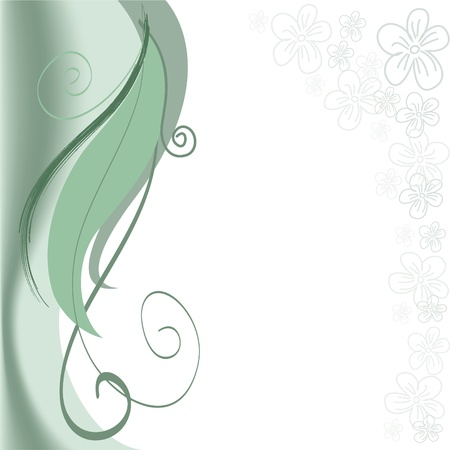abstract green background with swirls and floral stripe Vector
