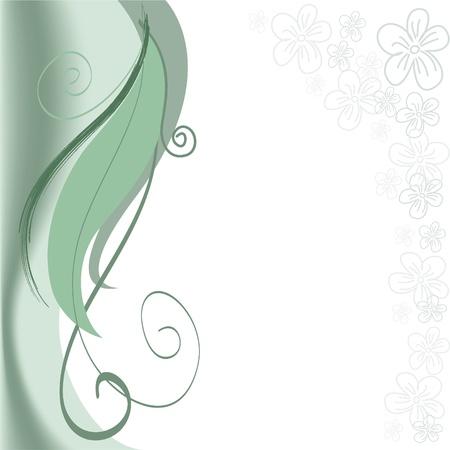 flowery: abstracto fondo verde con remolinos y raya floral Vectores