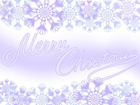 Christmas background of purple snowflakes and congratulations Stock Vector - 9873342