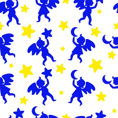 Seamless blue ornament with the angels and the yellow stars Vector