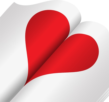 red heart on the open of the glossy notebook Vetores