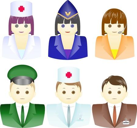 diferentes profesiones: un conjunto de iconos para hombres y mujeres vestidos con uniformes diferentes Vectores