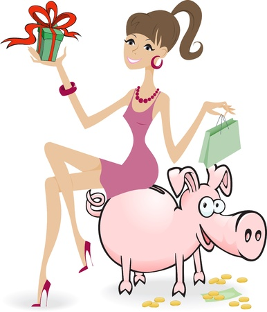 sales bank: cartoon girl with purchase, sitting on a piggybank
