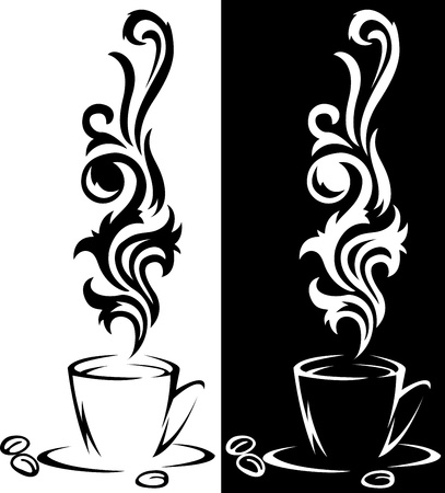 steaming: two beautiful stylized cup of steaming coffee