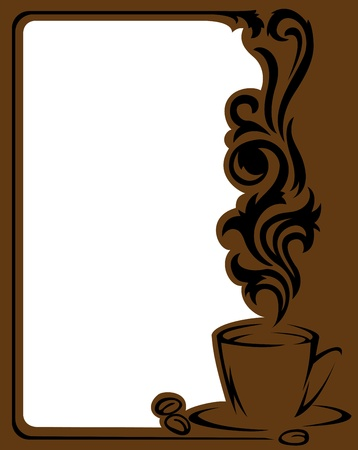 steaming coffee: Vertical frame with a stylized  a cup of coffee and coffee beans Illustration