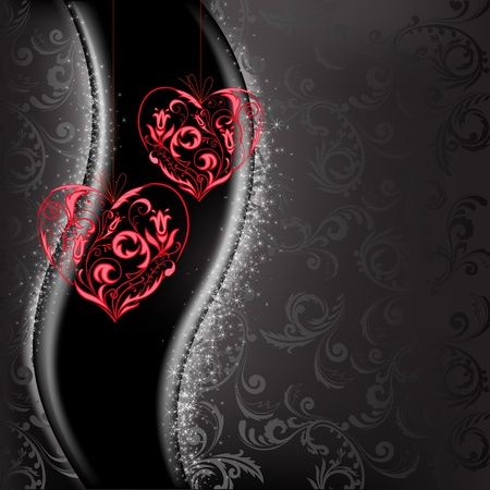 two lacy red hearts on a black background of sparkling Vector
