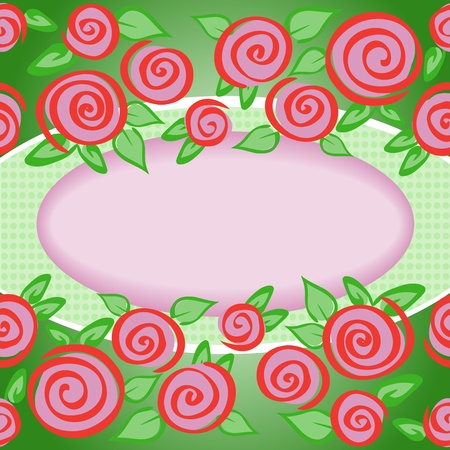 purple oval frame on a green background framed by roses Vector