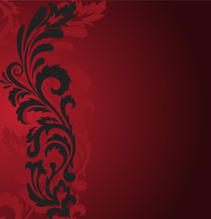 solemn: abstract red background with a beautiful black ornament on the left