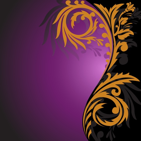 solemn: abstract black and purple background with beautiful gold ornament on the right