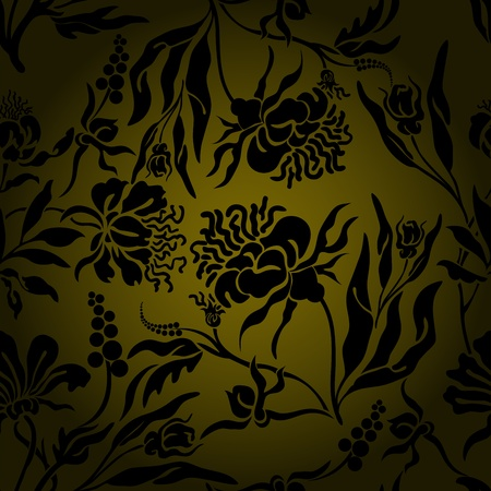 randomly: seamless background with randomly located black silhouettes of flowers Illustration