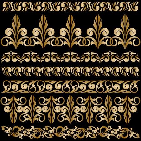 baroque: conjunto de bordes dorados elegantes dise�o Vectores