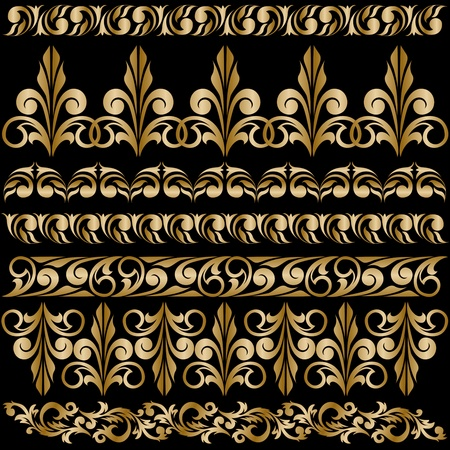 baroque style: set of elegant gilt borders for design Illustration