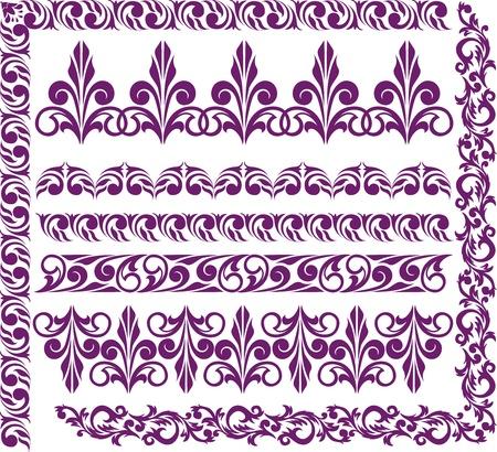 adornment: set di eleganti confini viola per il design