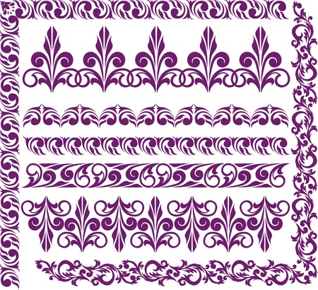 adornment: set of elegant purple borders for design