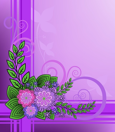 Lilac flowers on purple plaid background Vector