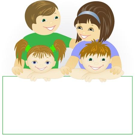 famiglia numerosa: felice famiglia di quattro persone in possesso di un grande poster Vettoriali