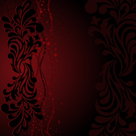 black magic: beautiful black ornament with stars and waves on a dark red background Illustration