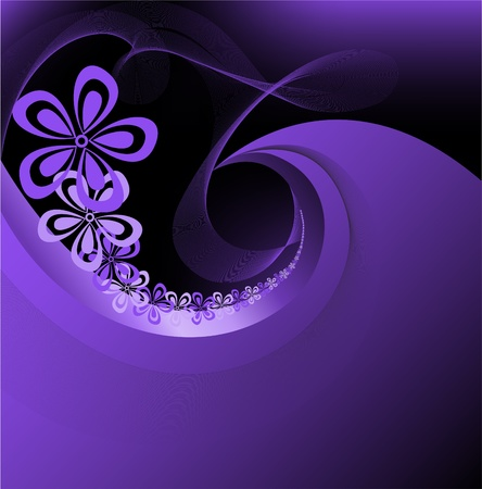 contrast floral: dark diffuse purple background with a floral spiral Illustration