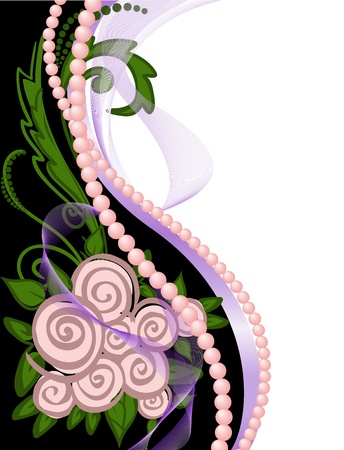 sensitivity: asymmetrical black and white background with pearls and roses Illustration