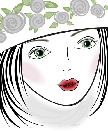 portrait of a beautiful girl with roses on her hat Vector