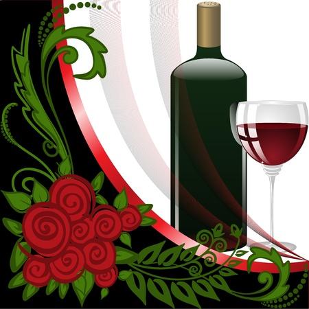 burgundy ribbon: bottiglia e bicchiere con vino rosso su sfondo bianco e nero Vettoriali