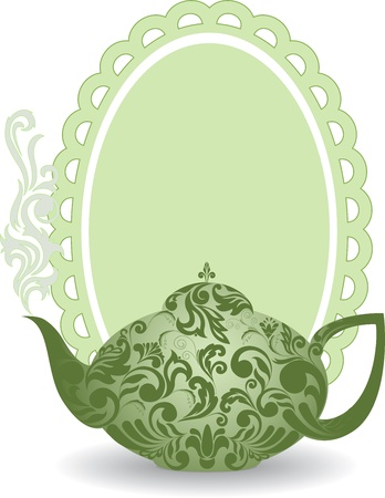 green teapot with a beautiful ornament and clouds of steam 向量圖像