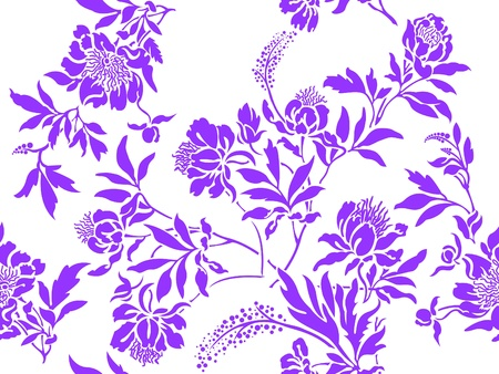 seamless white background with randomly distributed lilac posies
