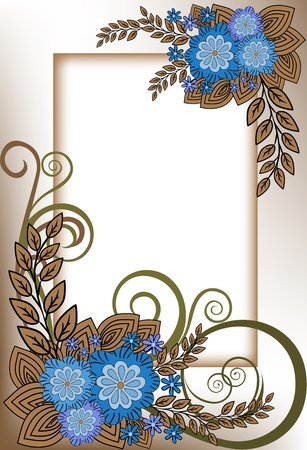 shadowy: beautiful vertical frame of the blue flower composition