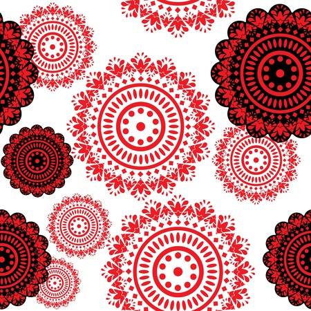 retro circles: seamless pattern of round black and red ornaments Illustration