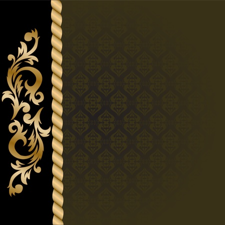 solemn: beautiful black background with a vertical gold ornaments Illustration