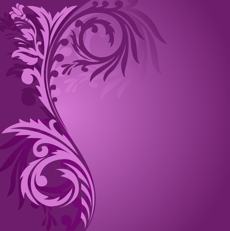 abstract purple background with a beautiful ornament to the left Stock Vector - 10041784