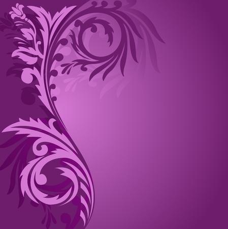 porpora: astratto sfondo viola con un bell'ornamento a sinistra Vettoriali