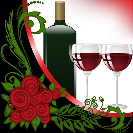 sauvignon: bottle and two glasses of wine on black and white background Illustration