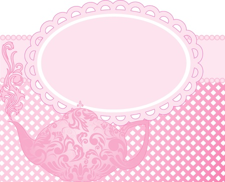 tearoom: green teapot with a beautiful ornament and clouds of steam Illustration